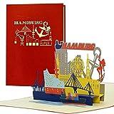 Gutschein, Reisegutschein für Städtereise nach Hamburg 3D Pop Up Karte Hamburger Sykline Hotelgutschein für Sie oder Ihn Geschenkidee und Geschenk, A127AMZ