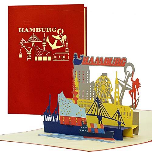 Gutschein, Reisegutschein für Städtereise nach Hamburg|3D Pop Up Karte Hamburger Sykline|Hotelgutschein für Sie oder Ihn|Geschenkidee und Geschenk, A127AMZ