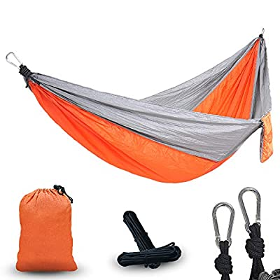 PIRNY Camping Hammock,Portable Parachute Hammock Suitable for Outdoor Beach Yard,Perfect Backpacking Gear (Gray Orange)