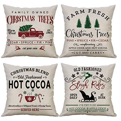 LEVOSHUA - Juego de 4 fundas de almohada de Navidad para árbol de Navidad o camión, funda de almohada de lino y algodón, decoración para el hogar para sofá de 45 x 45 cm