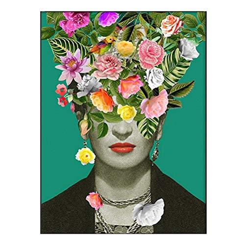 Frida Kahlo Poster Drucken Mit Art Definition in Spanisch Modernes Farn-Blumen-Rauch-Vintages Aquarell Porträt Leinwanddruck Bild, Zuhause Wandkunst Dekor, Ungerahmt,Flowers,70×90cm