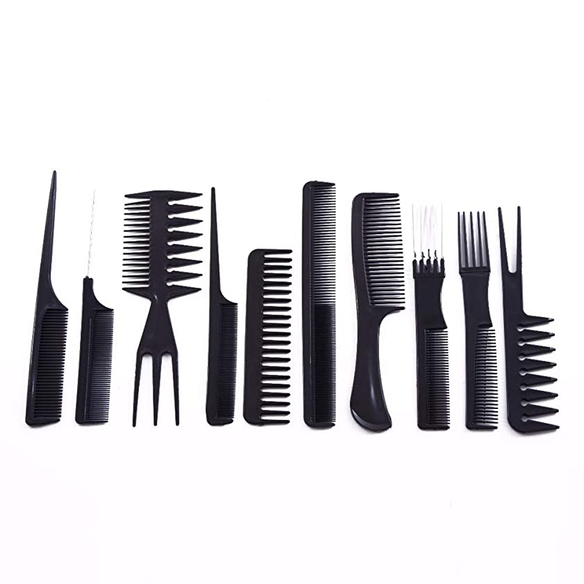 出くわすもう一度忙しい10ピース/セットプロのヘアブラシ櫛サロン理容帯電防止ヘアコームヘアケアスタイリングツール用すべての髪タイプ