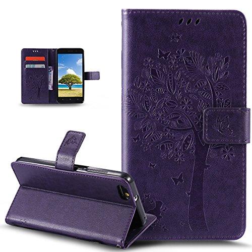 Kompatibel mit Huawei Honor 4X Hülle,Huawei Honor 4X Schutzhülle,Prägung Katze Schmetterlings Blumen PU Lederhülle Flip Hülle Handyhülle Ständer Tasche Wallet Hülle Schutzhülle für Huawei Honor 4X,Lila