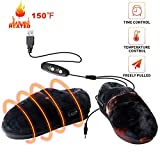 Heated Cold Weather Winter Warm Shoes,BIAL Heating Pad Indoor House Slipper Shoes,Time and Temperature Control USB Electric Heated Up Comfortable Plush Memory Foam Slippers to Keep Feet Warm