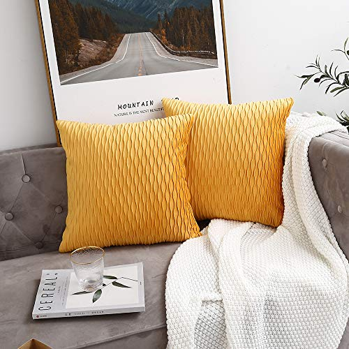 Golden Yellow Striped Decorative Cushion Covers for Sofa Couch Bed, Classic Velvet Wavy Stripes Throw Pillow Cases, 18x18 inches, 45x45cm, Set of 2