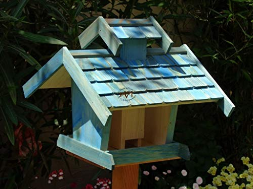 vogelhaus mit ständer, BEL-X-VOVIL4-MS-blau002 Robustes, stabiles PREMIUM Vogelhaus KOMPLETT mit Ständer wetterfest lasiert, FUTTERHAUS für Vögel, WINTERFEST – MIT FUTTERSCHACHT Futtervorrat, Vogelfutter-Station Farbe blau SKY BLUE himmelblau hellblau mittelblau dunkelblau/natur, MIT TIEFEM WETTERSCHUTZ-DACH für trockenes Futter, Schreinerarbeit aus Vollholz - 5