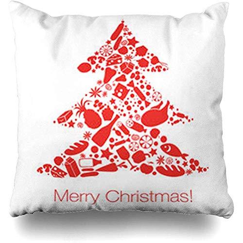 Kussensloop, Peper Rood Diner Kerstboom Voedsel Lettering Feestdagen Tafel Cook Gezond Supermarkt Abstract Premium Duurzame Kussenslopen 40x40cm