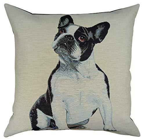 FILEMA Funda cojin Perro Bulldog francés Bordado Tapiz Jacquard auténtico gobelino/1 Funda/ 45x45 cm