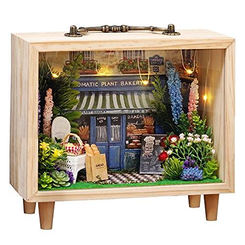 moin moin ドールハウス ミニチュア 手作りキット セット 木製 ハンドバッグ の中の 小さな世界 ガーデン 花 フラワー パン パン屋 LEDライト + スライドカバー + 木製フレーム (アロマティック・プラント・ベーカリー) 2105DH25