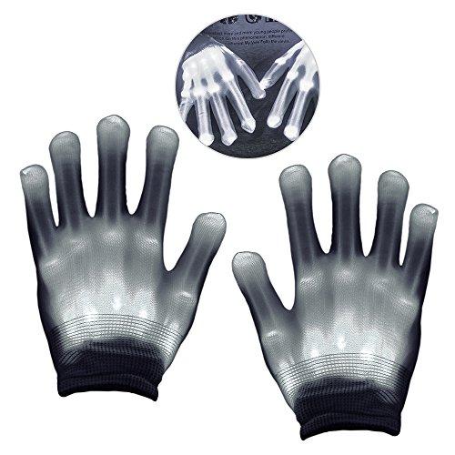 KITY Spielzeug für Jungen ab 4-11 Jahre,Led Handschuhe für Kinder LED Party Handschuhe Bunte Licht Handschuhe Geschenke für Jungen ab 4-12 Leuchtende Handschuhe Kindertag(Weiß)