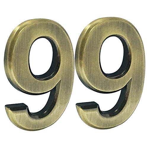 2 pcs Mailbox Numbers 0,3D Brass Metal Self-Stick Door House Numbers,Street Address Plaques Numbers for Residence and Mailbox Signs,2-3/4 Inch (9)
