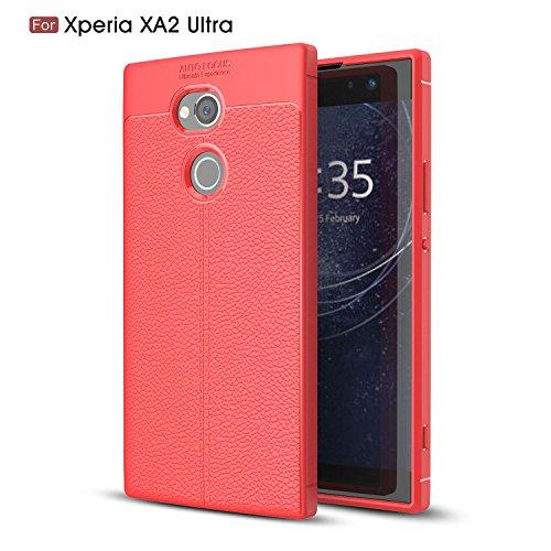 pinlu® Etui Schutzhülle Für Sony Xperia XA2 Ultra Soft Silikon TPU Hohe Qualität Elastisch Stylisch Leder Litschi Textur Hülle Kratzfeste und Anti-Rutsch-Design Rot