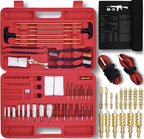 Universal Gun Cleaning Kit, Brass Jags, Gunsmith Mat, 2 Gun Snakes, 2 Rods, Brushes and Slotted Tips - Great for All Guns - Pistols, Handguns and Shotguns