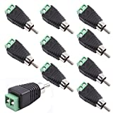 exgoofit Phono RCA Screws Male Female Plug to AV Screw Terminal Audio/Video Connector Adapter (Male Connector 10-Pack)