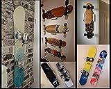 Clipboart ® Soporte de pared estándar blanco para longboard, snowboard, wakeboard o wakeboard, soporte de pared de madera, horizontal y diagonal