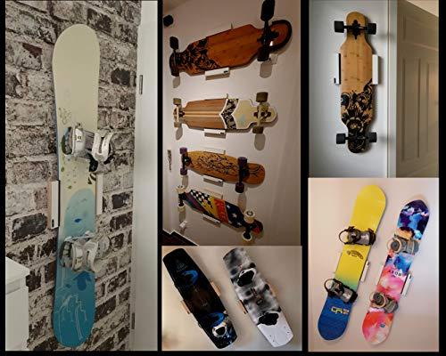 Clipboart ® Standard Wandhalterung weiß für Longboard Snowboard Wakeboard Halterung Wandmontage Wandhalter Halter Holz horizontal vertikal diagonal Clipboard