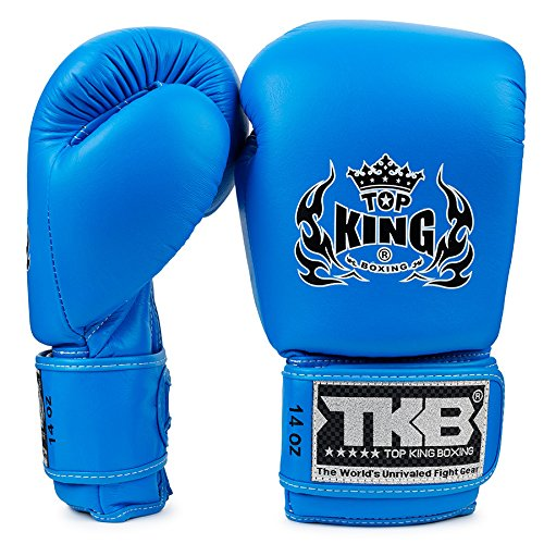 KINGTOP Top King - Guantes de Boxeo con Doble Cerradura, Color Azul neón, Color Azul Claro, tamaño 39,8 Cl