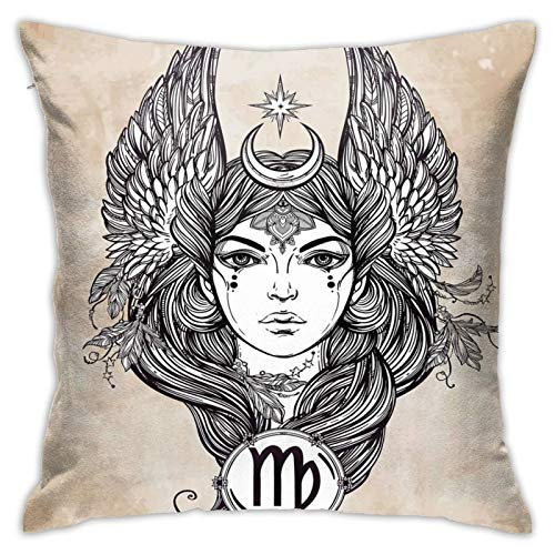 Throw Pillow Case Cushion Cover,Astrological Icon with Girl Earth Element In Female Form Ancient Graphic Design ,18x18 Inches