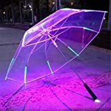 SHHOMELL New 8 Rib Light Up Blade Runner Style Changing Color LED Umbrella with Flashlight Transparent Handle Straight Umbrella Parasol