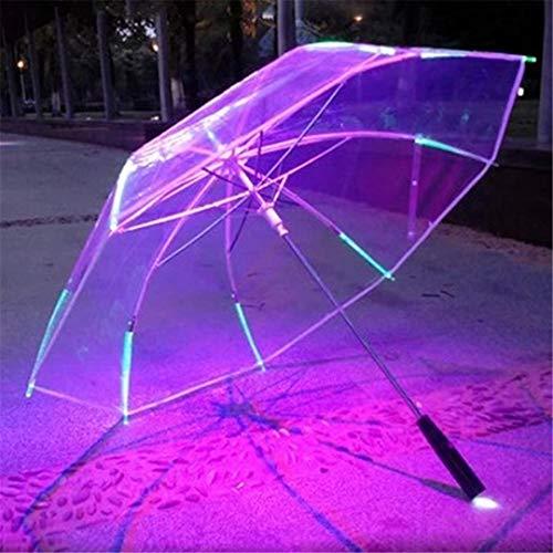 XXLMIJP 8 Rib Light Up Blade Runner Style Changing Color LED Umbrella with Flashlight Transparent Handle Straight Umbrella Parasol