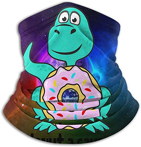 Unisex Donut A Saurus Dinosaur Donuts Winter Fleece Neck Warmer Gaiters Haarband Koud Weer Tube Gezicht Masker Thermische hals Sjaal Outdoor UV Bescherming Party Cover Zwart