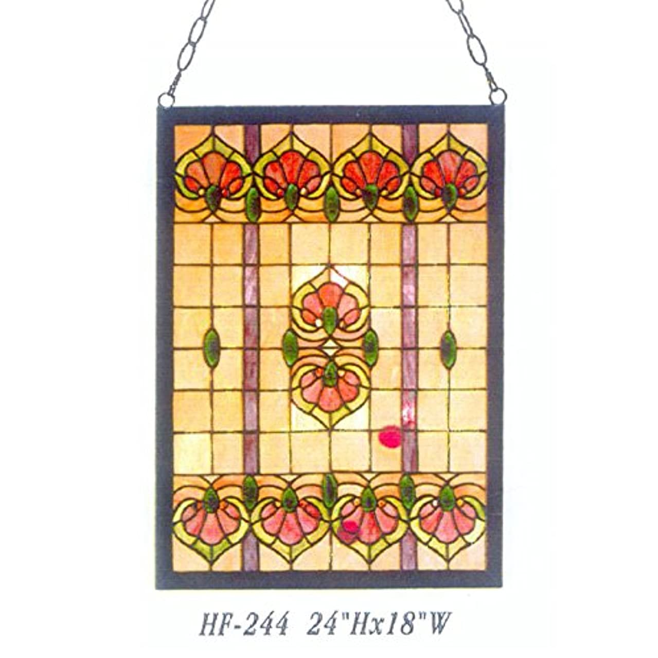 HDO Glass Panels HF-244 Vintage Tiffany Style Handmade Stained Glass Church Art Window Hanging Glass Panel Suncatcher, 24