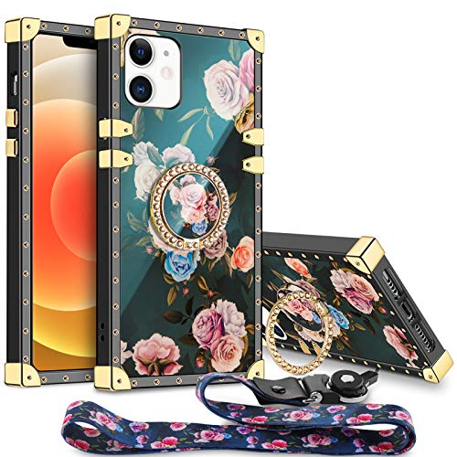 Aemotoy for iPhone 12 5G 12 Pro Case Floral Cute with Ring Holder Grip Lanyard Girly Square Reinforced Corners Protective Shell Flexible TPU Shockproof Cover for iPhone 12 Pro 12 5G 6.1 inch Peony