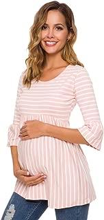 Ecavus Womens Casual Maternity Tops Striped Peplum 3/4 Ruffle Sleeve Shirt Ultra Soft Pregnancy Clothing