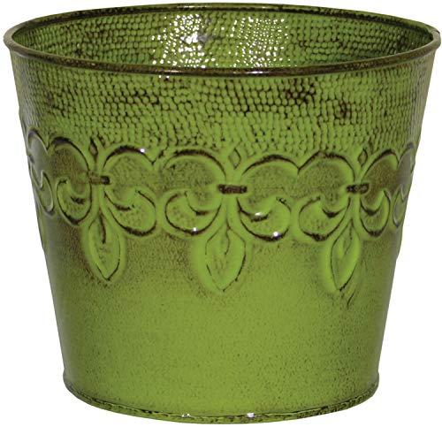 Robert Allen MPT01891 Fluer De Lis Series Metal Planter Flower Pot, 6, Color Tansy Green