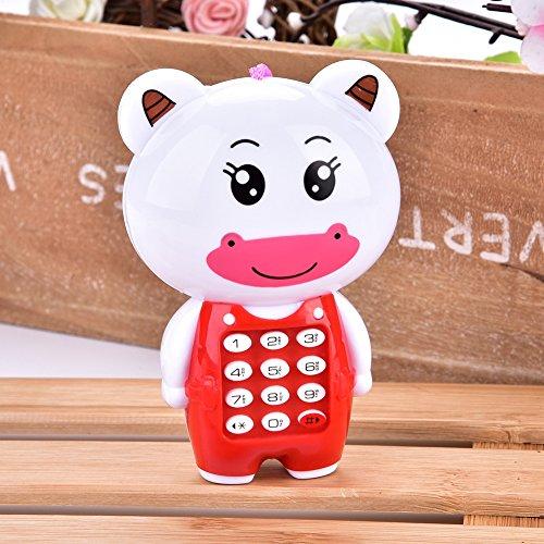 Junluck Teléfono Celular Musical, teléfono Celular de los niños del teléfono Musical Animal del Juguete de Aprendizaje, para el hogar(Calf)