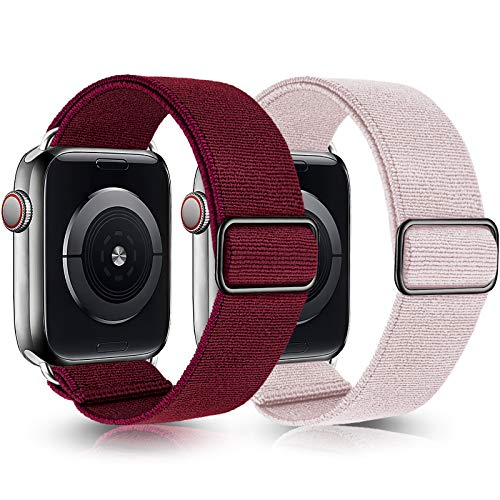 Greatfine Stretchy Solo Loop Strap Compatible with Apple Watch Bands 38mm 40mm,Elastic Nylon Braided Band&Adjustable Buckle Women Men Sport Watch Bands for iWatch Series 6/5/4/3/2/1 SE(Red+Pink-38/40)