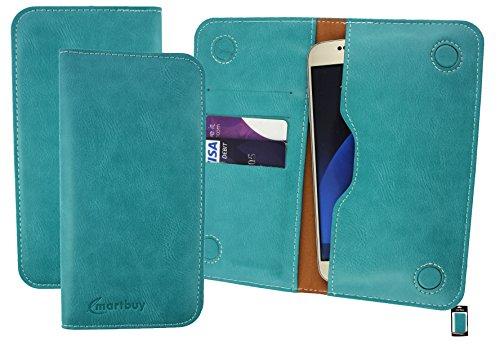 emartbuy Türkis PU Leder Magnetisch Schlank Brieftasche Tasche Sleeve Halter (Größe 3XL) Geeignet Für Slok C3 Dual SIM Smartphone