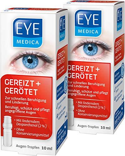 EyeMedica Gereizt + Gerötet, Augentropfen zur Beruhigung der Symptome von strapazierten Augen, Pflege für gerötete, gereizte und trockene Augen, für Kontaktlinsenträger geeignet, 2 x 10 ml