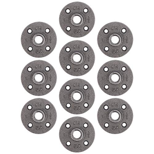 """Pipe Decor 3/8"""" Malleable Cast Iron Floor Flange 10 Pack, Industrial Steel Grey Fits Standard Three Eighth Inch Threaded Black Pipes and Fittings, Vintage DIY Shelving, Real AUTHENTIC Plumbing Flanges"""