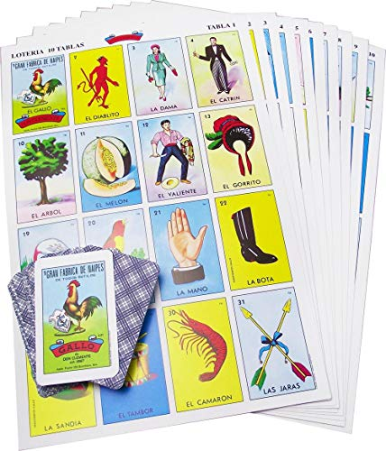 Original Jumbo Loteria Game Set in Spanish, Mexican Loteria for 10 Players