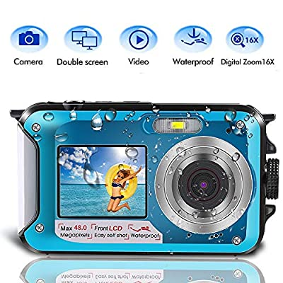 Underwater Camera for Snorkeling, Waterproof Camera, 2.7K 48MP Digital Camera HD Rechargeable Underwater Camera with Dual Screen, Great for Diving Swimming, Camping by Star Power