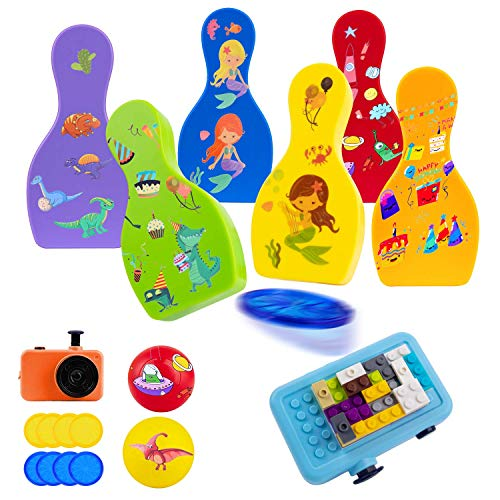 ROYPOUTA Kids Bowling Set Indoor Games or Outdoor Games for Kids, Includes 6 Pins and 2 Balls (camerapop-updevice,shrapnels,Stickers,Building Blocks, Birthday Party Gifts for Age 3 + Boys ,Girls.