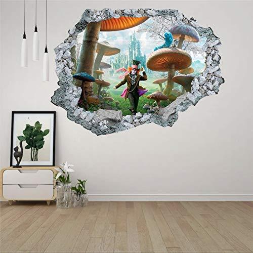 Wonderland Hole Alice - Mural de pared con agujero de hormigón 3D para pared, creativo, extraíble, para dormitorio, sala de juegos, guardería, oficina, tienda