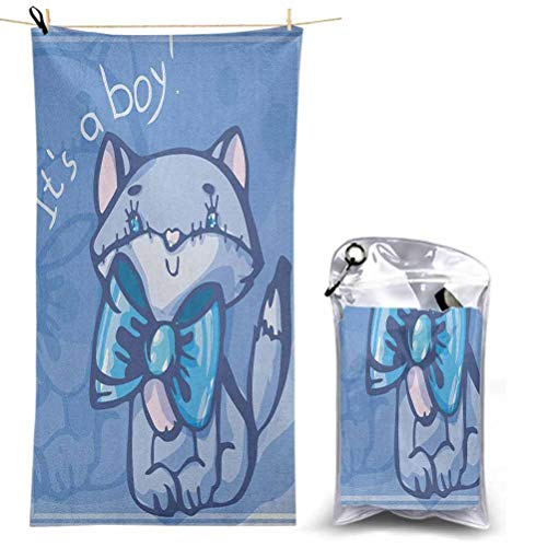 Ahuimin Quick Dry Camping Towel Outdoors, Cute Kitty Bow Tie Its Boy Quote Baby Shower Theme New Son Family Design 4.6' x 2.3' Best for Gym Travel Camp Backpacking