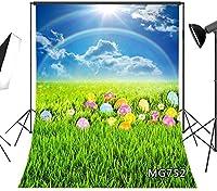 写真のための新しい春の背景5x7ftイースターエッグの背景緑の草青空写真ブース背景スタジオ小道具ビニールカスタマイズされた752