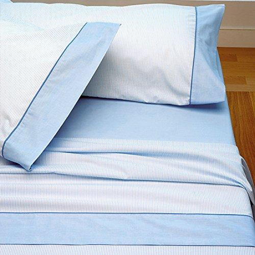 Burrito Blanco Juego de Sábanas de Rayitas 297 para Cama Individual de 120x190 cm hasta 120x200 cm, Color Azul Celeste