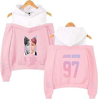 Flyself Women's BTS Hoodies Sweatshirts Off Shoulder Long Sleeve Jumper Pullover Sweater Jin Suga J-Hope RM Jimin V Jung Kook