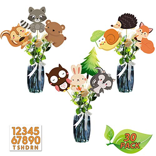 Woodland Animals Party Supplies, Photo Booth Props for Children Birthday Party Table Decoration Woodland Animals Cartoon Characters Table Topper for Baby Shower, Woodland Animals Centerpiece Sticks Cutout