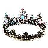Lurrose Reina barroca corona rhinestone tiaras de boda retro crystal hair jewelry decoración para...