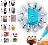 CJGRADY Boquillas para Manga Pastelera, 16 Kits de Decoración de Pastelería de DIY (12 Boquillas de Acero Inoxidable, 1 Bolsa de Pastelería Reutilizable, 1 Acoplador, 2 Anillos de Silicona)