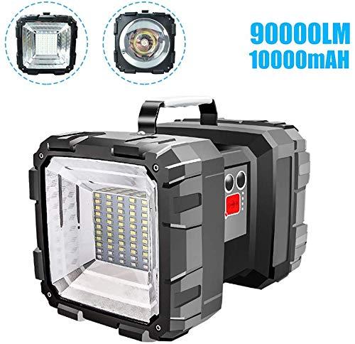 Swonuk Led-noodlicht, zaklamp, dubbele kop, super heldere zaklamp, koplamp, oplaadbare LED-schijnwerper, handschijnwerper, met ingebouwde 10000mAh-batterij voor vissen, wandelen, kamperen, jacht