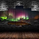 COCOCI 5 Piezas De Lienzo Aurora Boreal enmarcada Aurora Boreal Lienzos Decorativos XXL Cuadros Modernos Baratos Cuadros para Pasillo Cuadros Decorativos Cuadros para Dormitorios Modernos