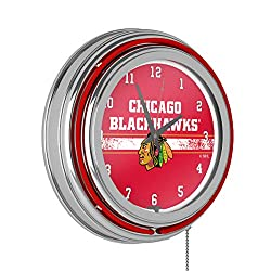 Trademark Global NHL Chrome Double Rung Neon Clock - Chicago Blackhawks