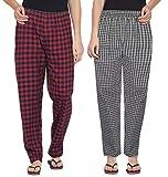 Fflirtygo Combo of Women's Cotton Pyjama Bottom, Cotton Export Quality Fabric, Red Navy and Khaki Check Pyjama for Women, Women's Leisure Wear, Night Pajama