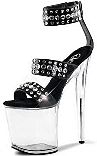 Women OpenToe Platform Sandals,Transparent Buckle Stilettos,for Summer Wedding Evening Party Stylish Rhinestone Stiletto Heels (Black),Black,41 EU